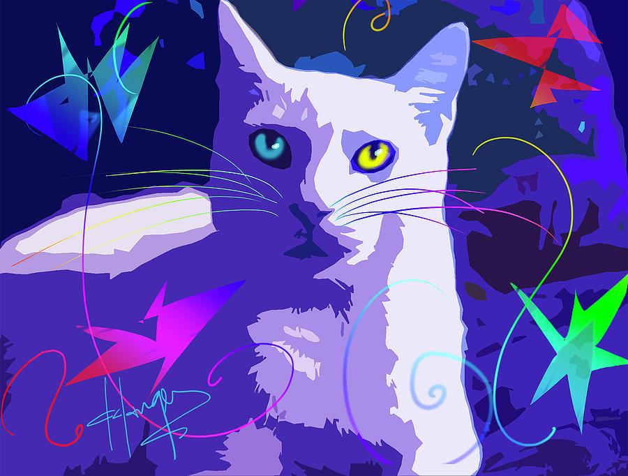 Dizzy Painting - Pop Cat Blue by DC Langer