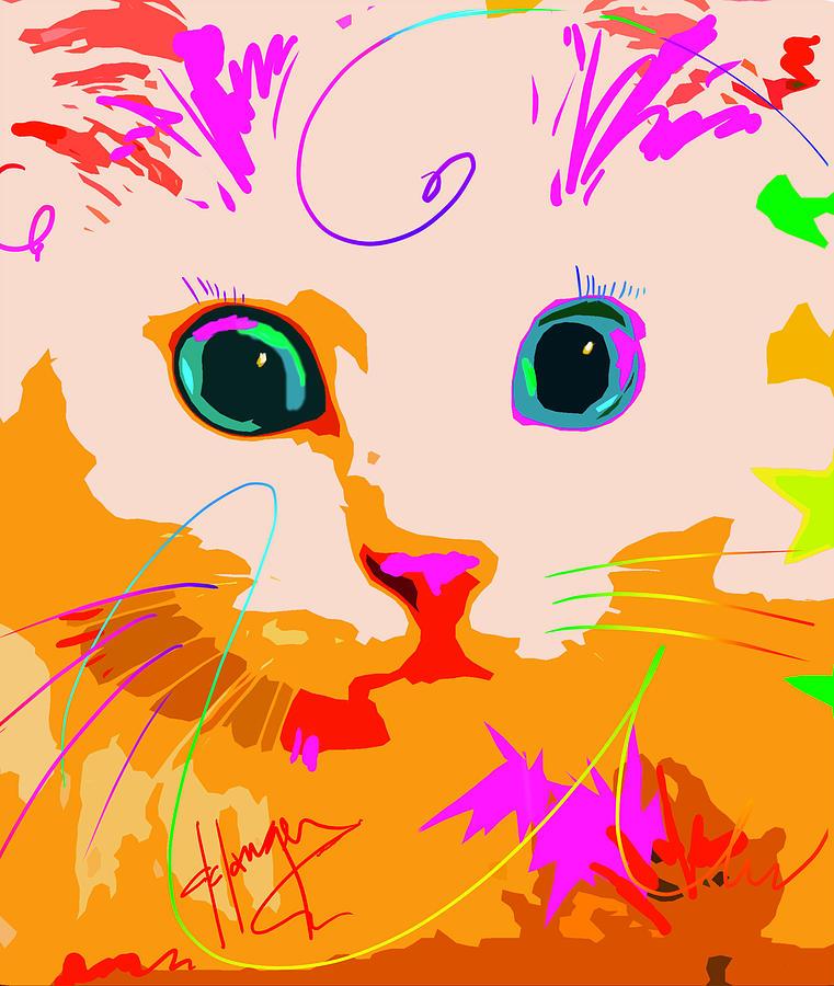 Pop Cat Creamsicle Painting