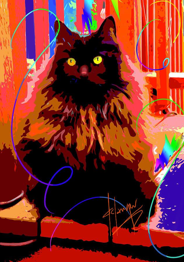 Dizzy Painting - Pop Cat Delilah by DC Langer