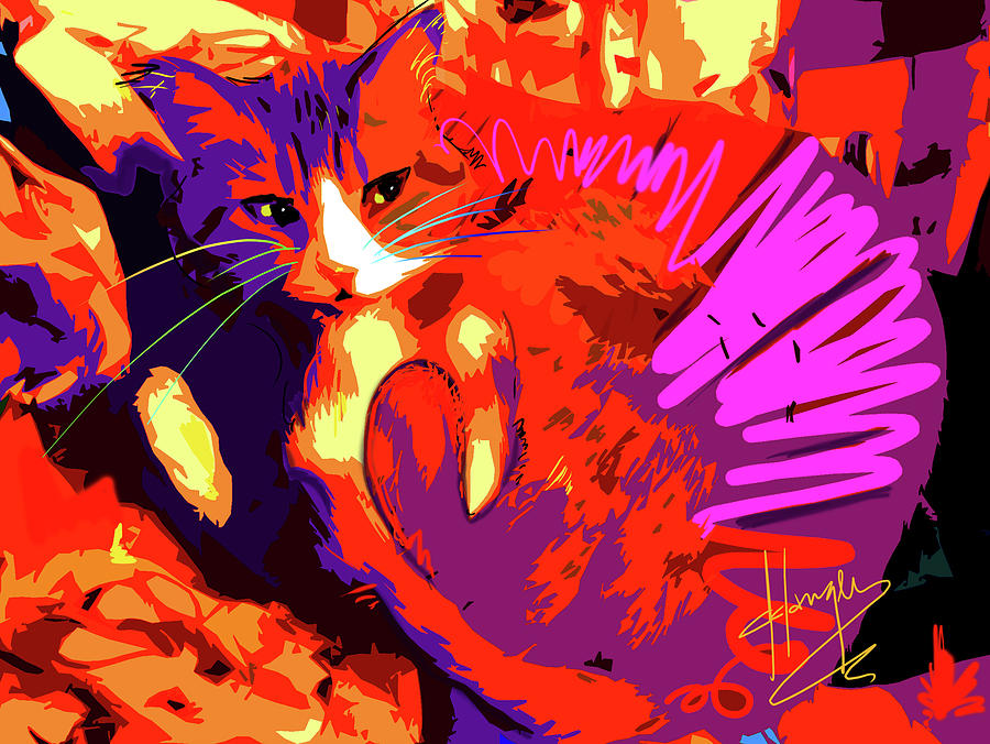 Dizzy Painting - Pop Cat Tiger by DC Langer