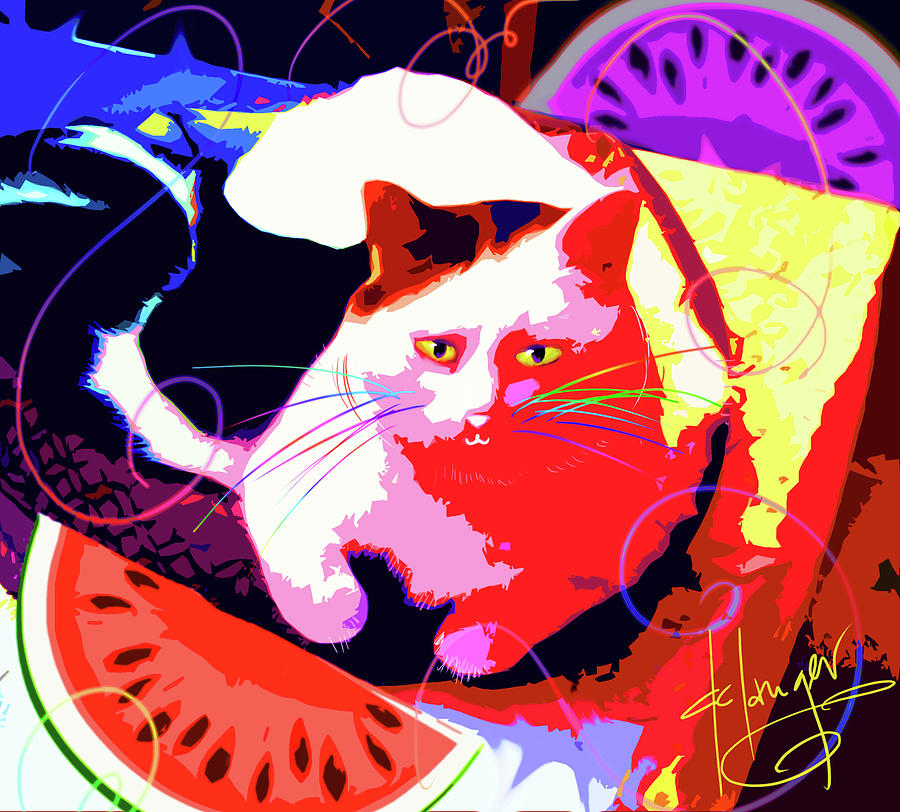 Toby Painting - Pop Cat Toby by DC Langer