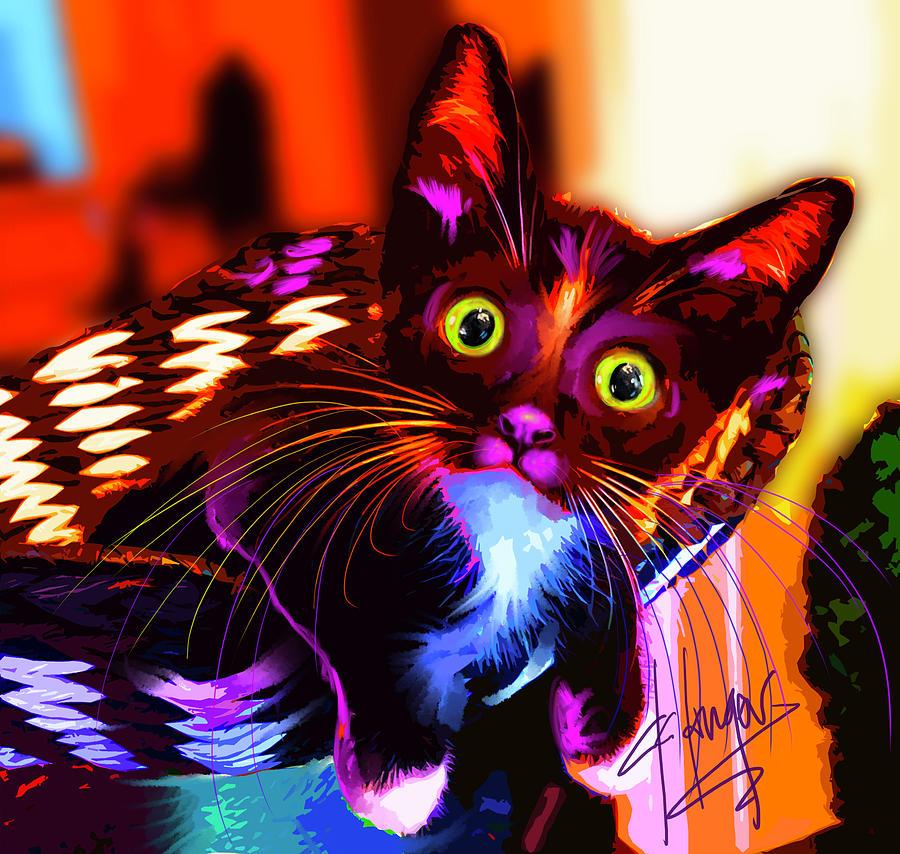 Dizzy Painting - pOpCat Maverick The Kitten by DC Langer