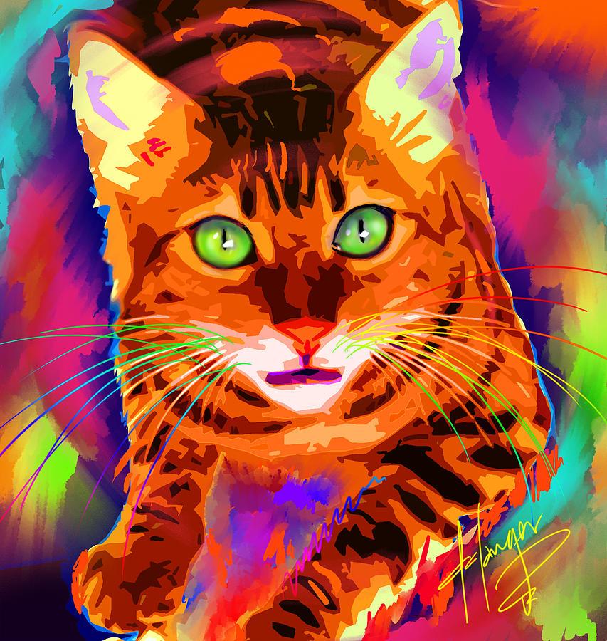 Dizzy Painting - pOpCat Neon Leon by DC Langer