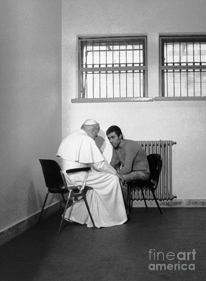 Pope John Paul II Talks With Jailed Photograph by Bettmann