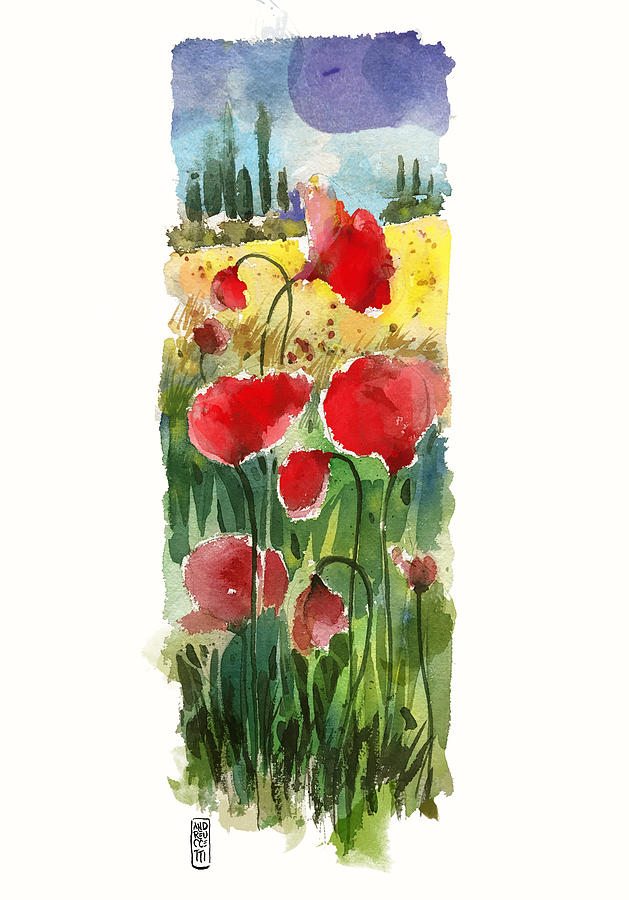 Tuscany Painting - Poppies by Alessandro Andreuccetti