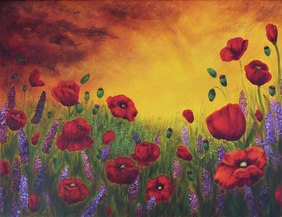 Poppies At Sunset Painting
