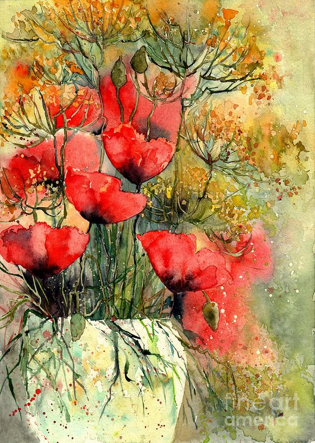 Red Flowers Painting - Poppies Impression by Suzann Sines