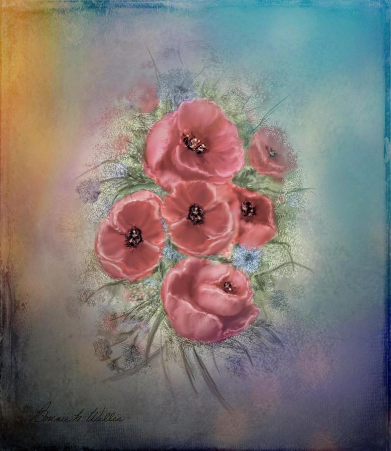 Poppies in Grunge by Bonnie Willis