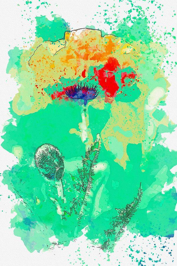 Poppy 5 -  Watercolor By Ahmet Asar Painting