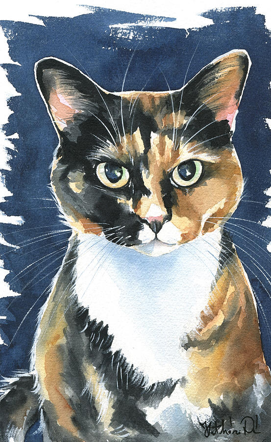 Cat Painting - Poppy Calico Cat Painting by Dora Hathazi Mendes
