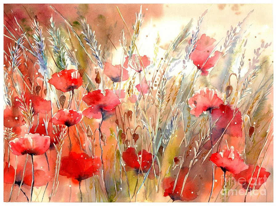Red Painting - Poppy Fields Forever by Suzann Sines