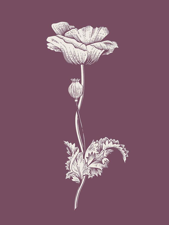 Flower Mixed Media - Poppy Purple Flower by Naxart Studio