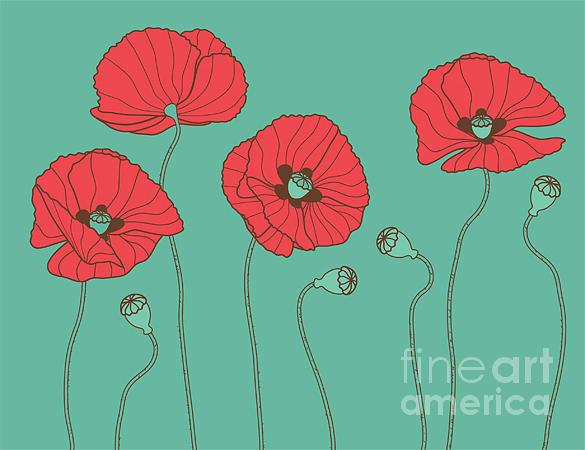 Beauty Digital Art - Poppys - Vector Illustration by Trendywest