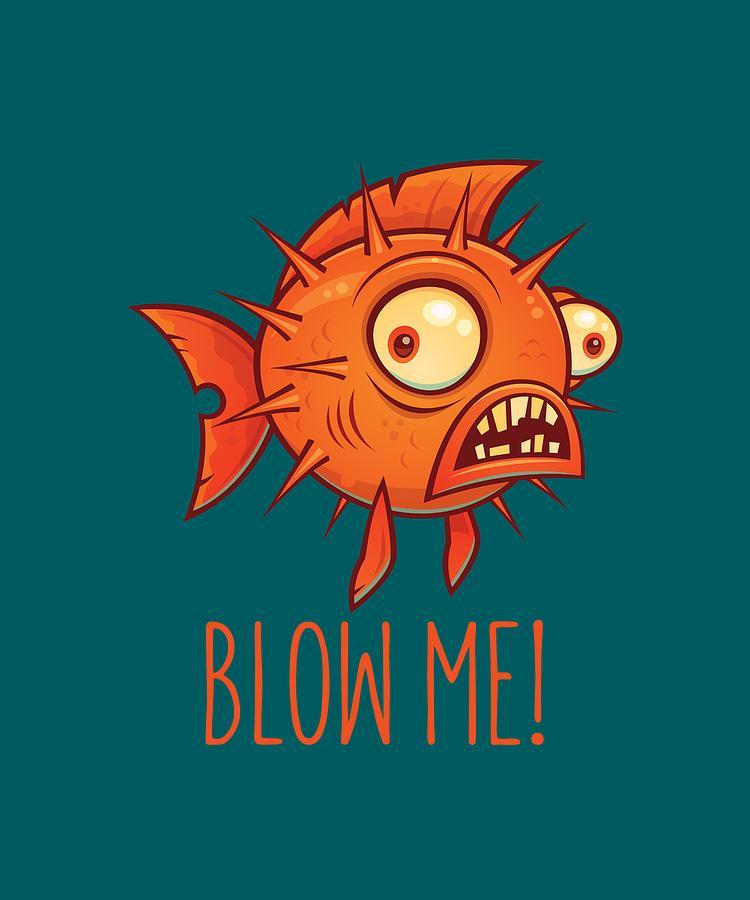 Porcupine Blowfish Cartoon - Blow Me Digital Art
