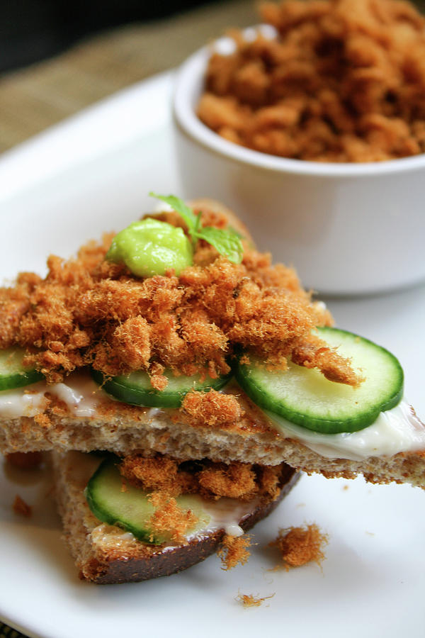 Pork Floss And Sliced Cucumber On Toasts Photograph by Iris Filson
