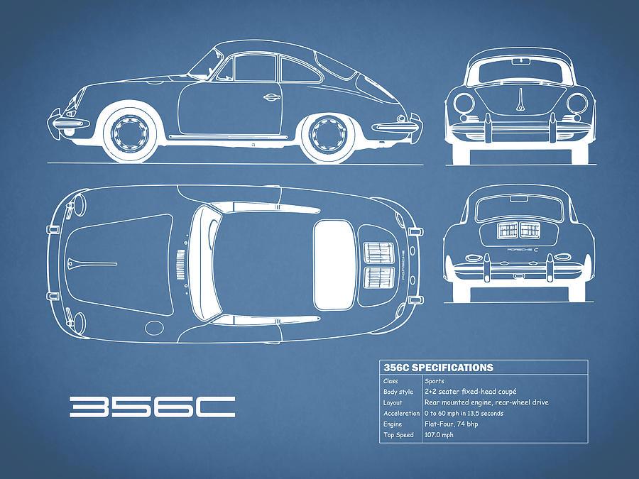Porsche Photograph - Porsche 356 C Blueprint by Mark Rogan
