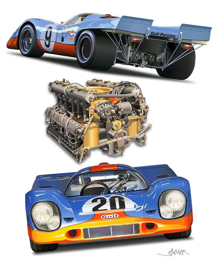 Porsche 917 Poster Illustration Drawing by Alain Jamar