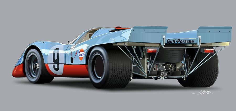 Porsche 917 Rear  Drawing by Alain Jamar