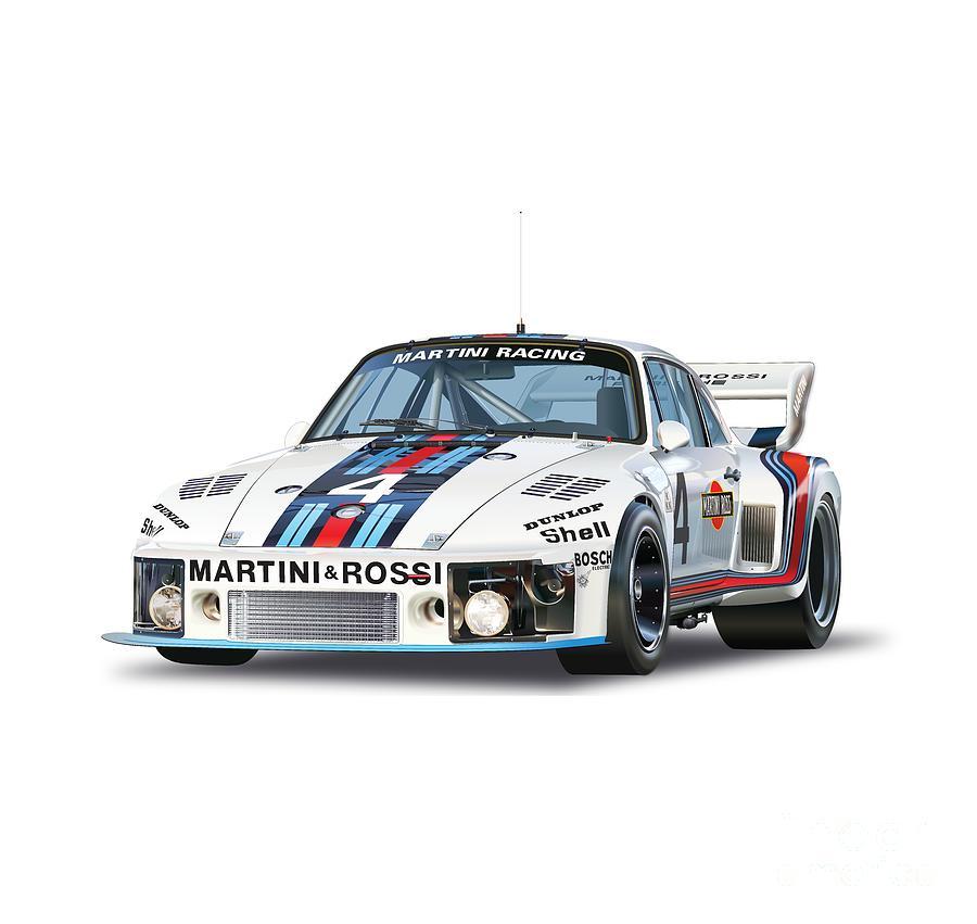 Porsche 935 Martini Racing Drawing by Alain Jamar