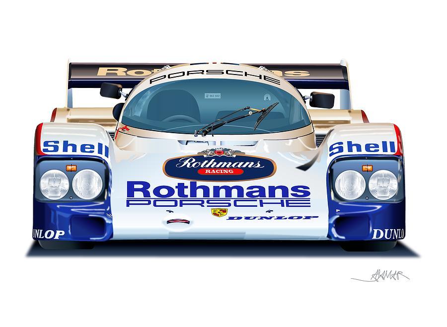 Porsche 962 Al Holbert Racing Drawing by Alain Jamar