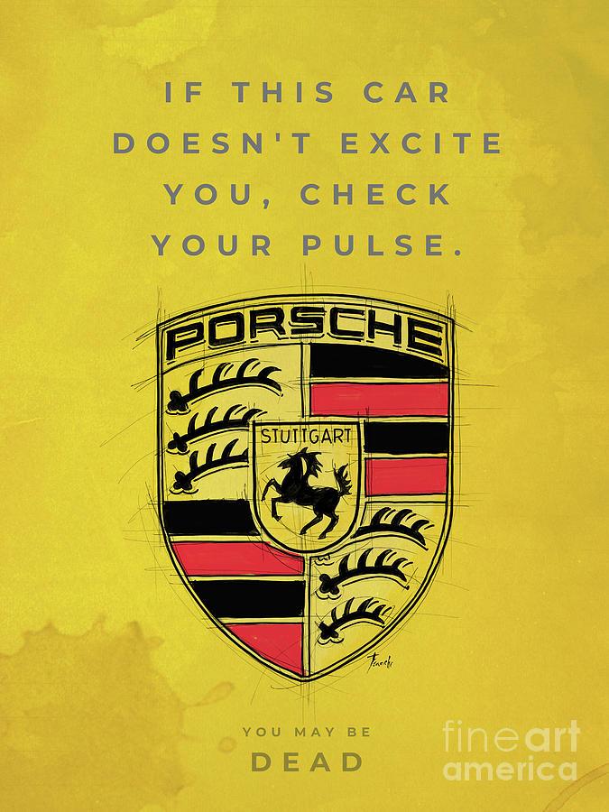 Porsche Logo Original Artwork Porsche Quote Drawing By Drawspots Illustrations