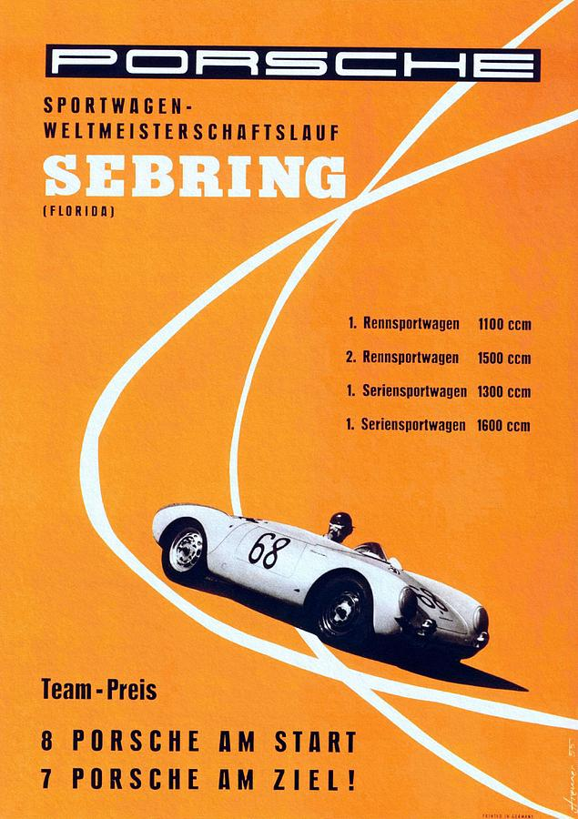 Vintage Poster Painting - Porsche Sebring Vintage Racing Poster by Unknown