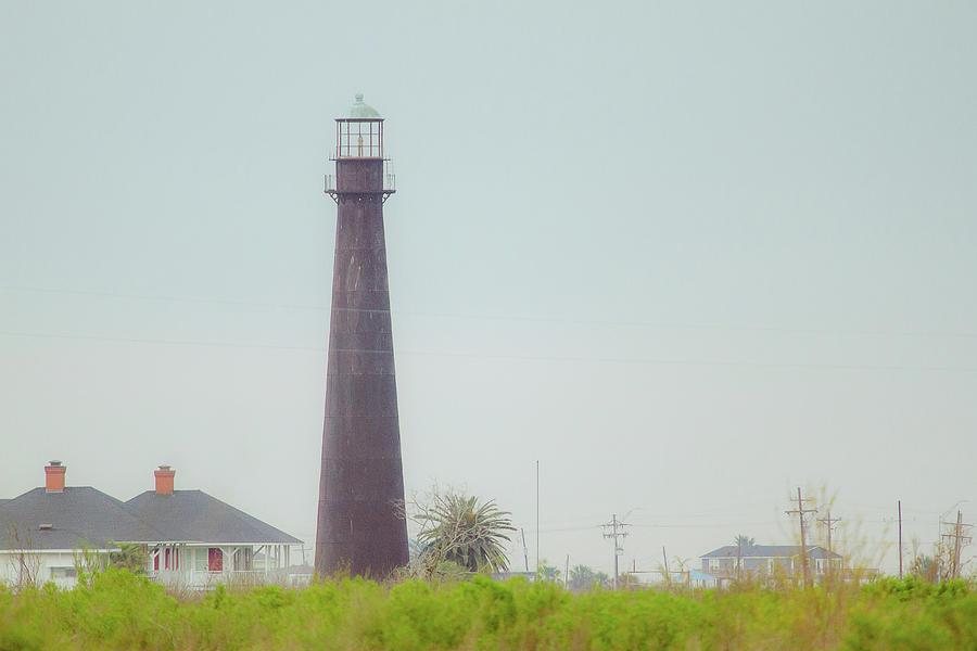 Lighthouse Photograph - Port Bolivar Lighthouse On A Hazy Day - Texas by Ellie Teramoto