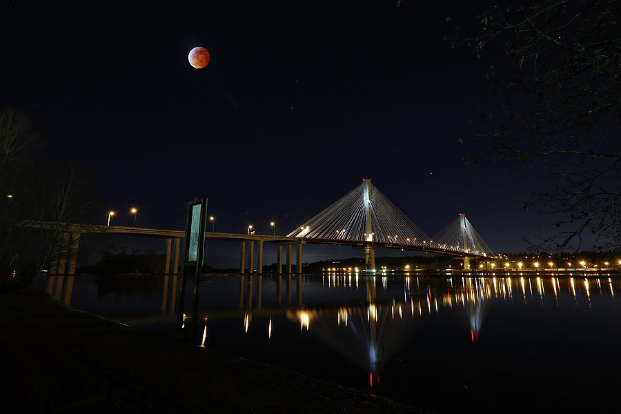 Port Mann Bridge with Blood Moon by Hagen Pflueger