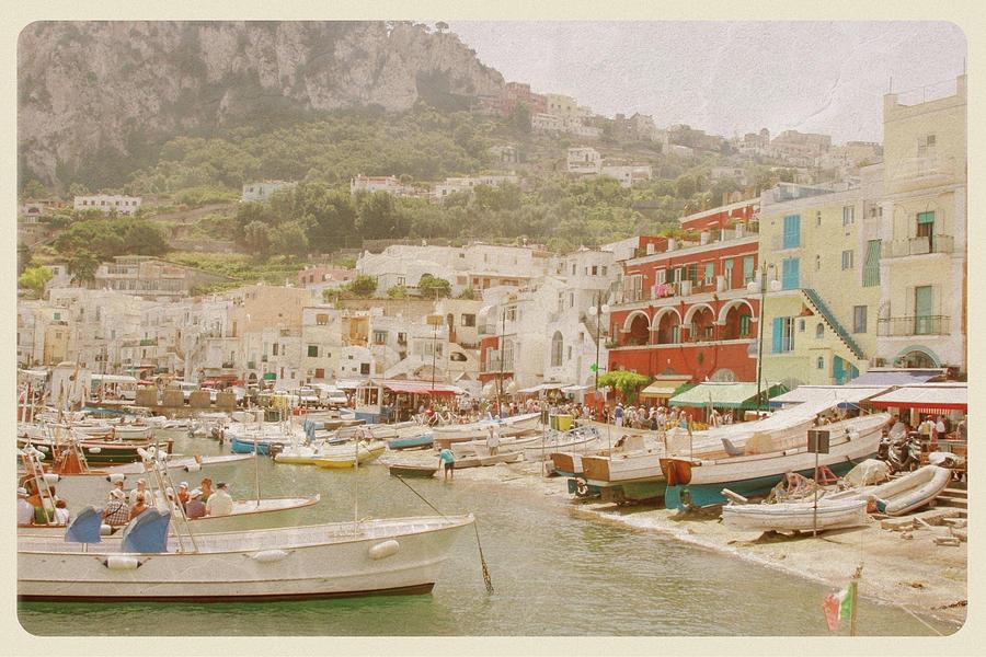 Port Of Capri, Italy - Vintage Postcard Photograph by Jitalia17