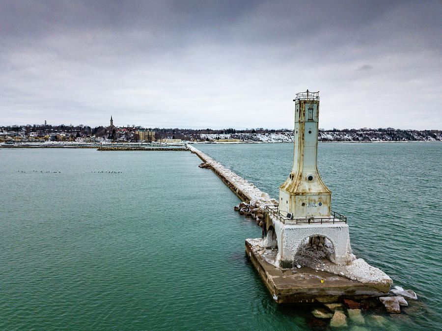 Port Washington Breakwater Light by Randy Scherkenbach