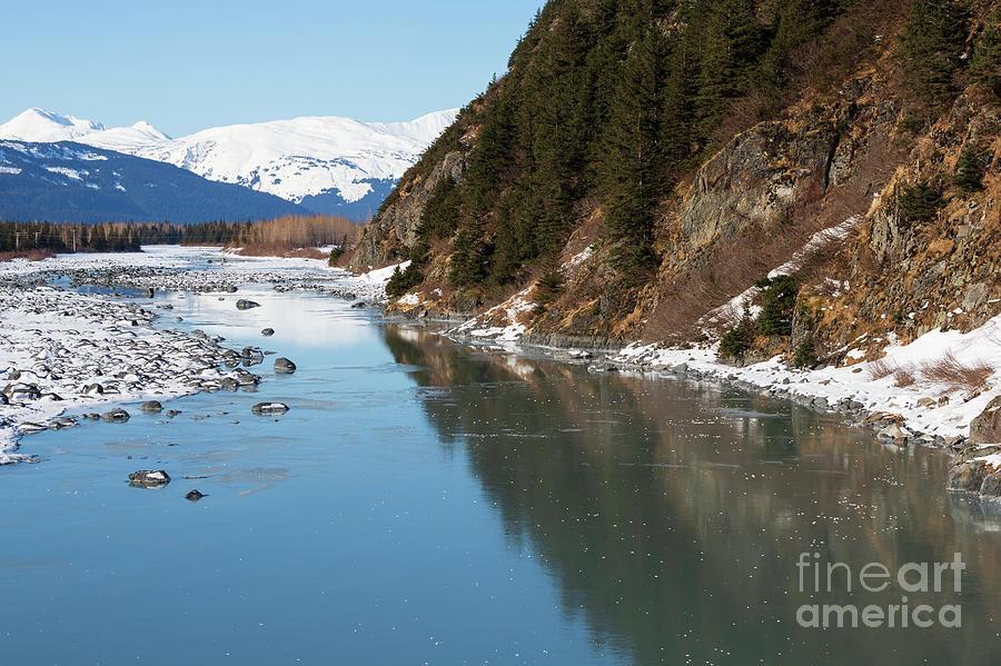 Portage Creek Photograph - Portage Creek Portage Glacier Highway Alaska by Louise Heusinkveld