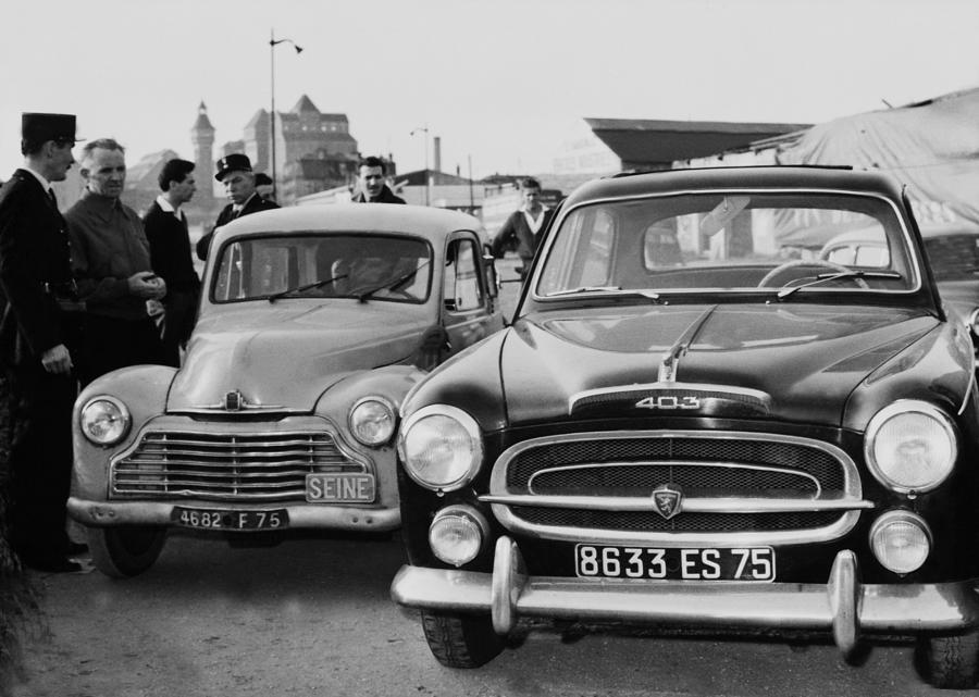 Porte De Pantin Robbery. Gangsters Cars Photograph by Keystone-france