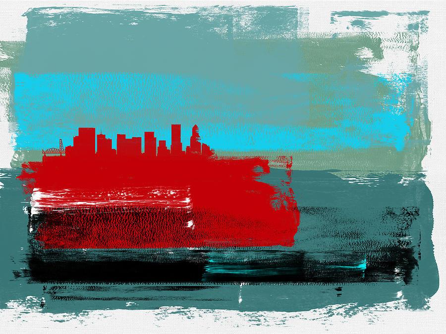 Portland Mixed Media - Portland Abstract Skyline I by Naxart Studio