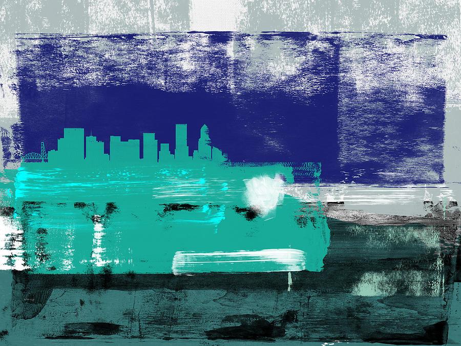 Portland Mixed Media - Portland Abstract Skyline II by Naxart Studio