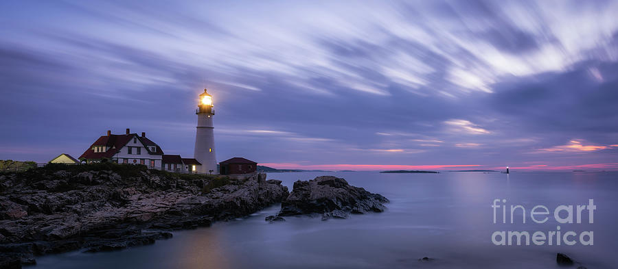 Cape Elizabeth Photograph - Portland Head Light At Twilight Pano by Michael Ver Sprill