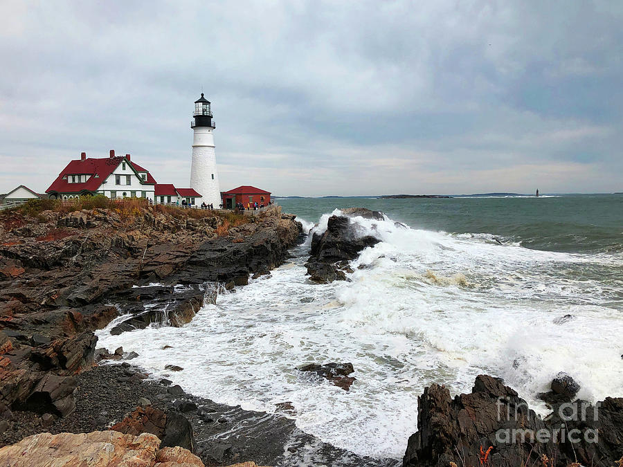 Portland Head Light Surf by Jeanette French