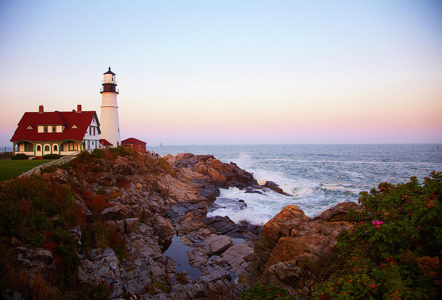 Portland Head Lighthouse At Sunset Photograph by Thomas Northcut