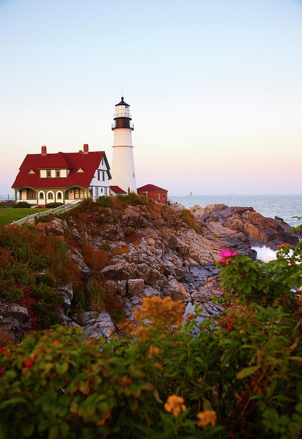 Portland Head Lighthouse At Susnet Photograph by Thomas Northcut
