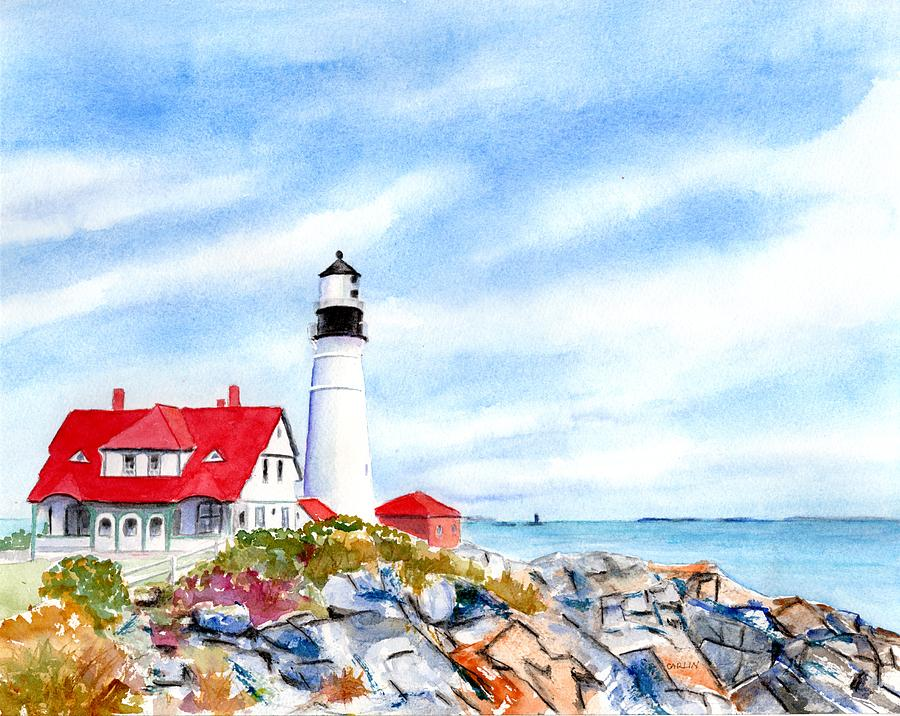 Portland Head Lighthouse Maine by Carlin Blahnik CarlinArtWatercolor