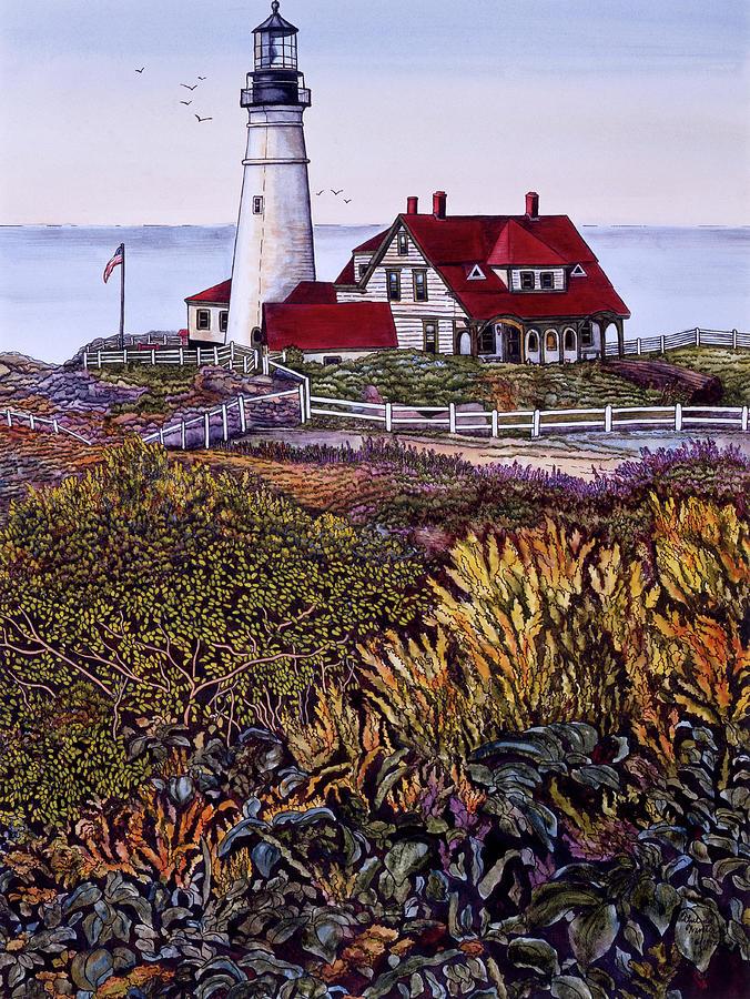 Maine Painting - Portland Headlight 2 by Thelma Winter