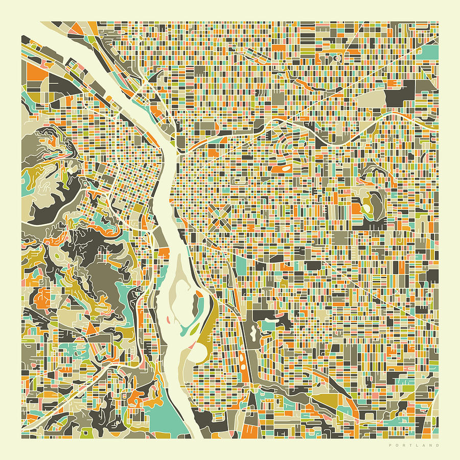 Portland Map Digital Art - Portland Map 1 by Jazzberry Blue