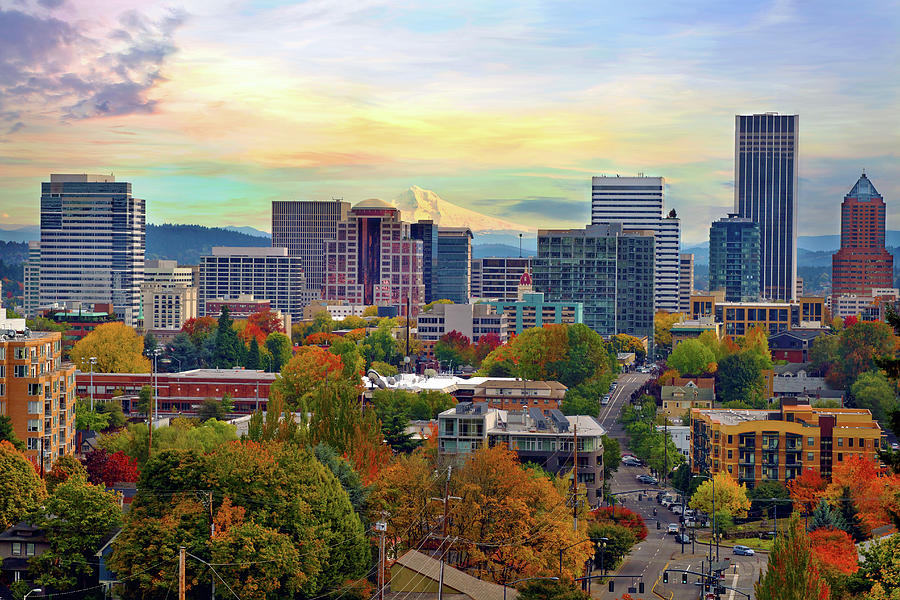 Portland Oregon Downtown Cityscape In Photograph by David Gn Photography