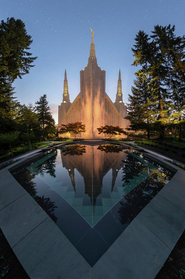 Portland Temple Night by Dustin LeFevre
