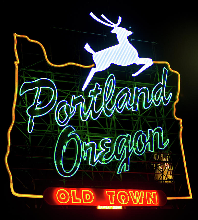 Portland White Stag Sign 102518 by Rospotte Photography