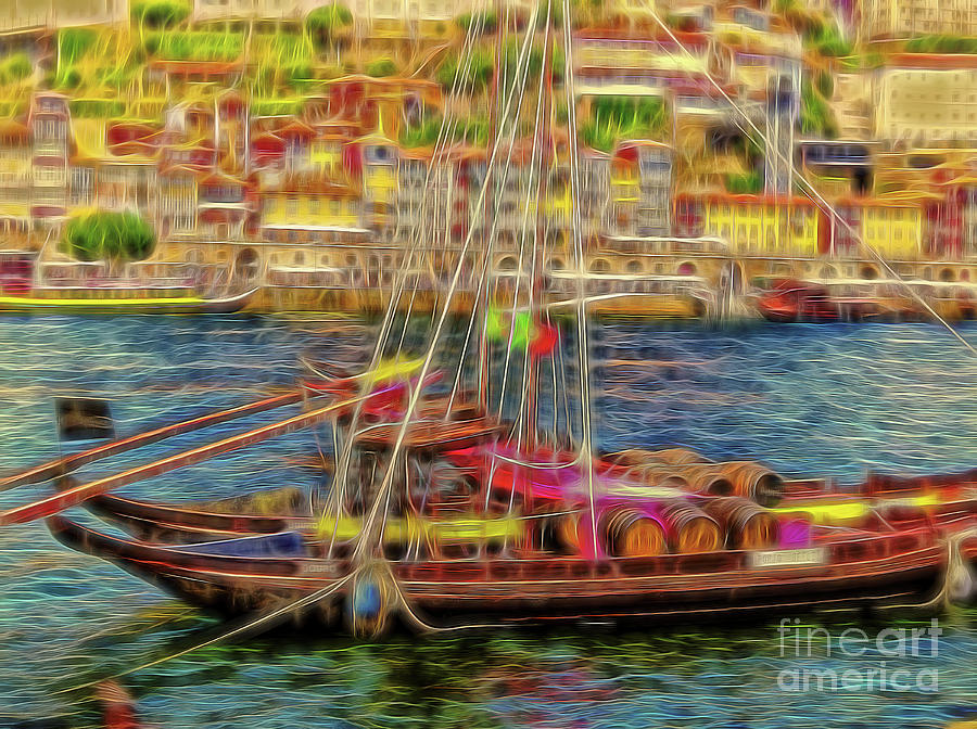 Porto 34 Boats on the Douro river at Gaia by Leigh Kemp