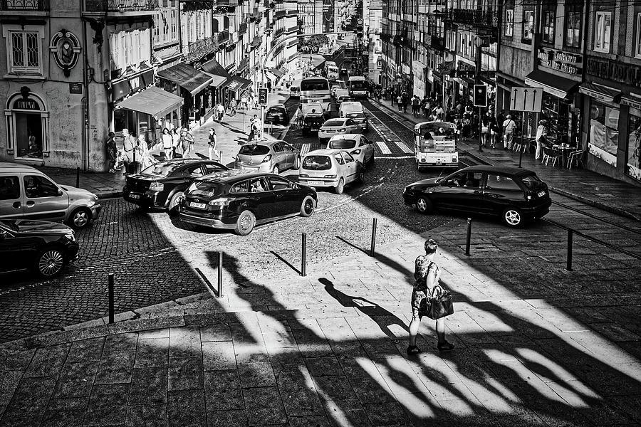 Porto Busy Street - Portugal by Stuart Litoff
