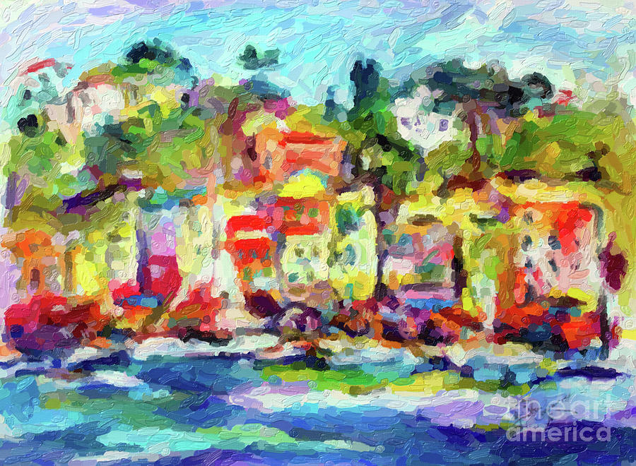 Portofino Digital Oil Painting by Ginette Callaway