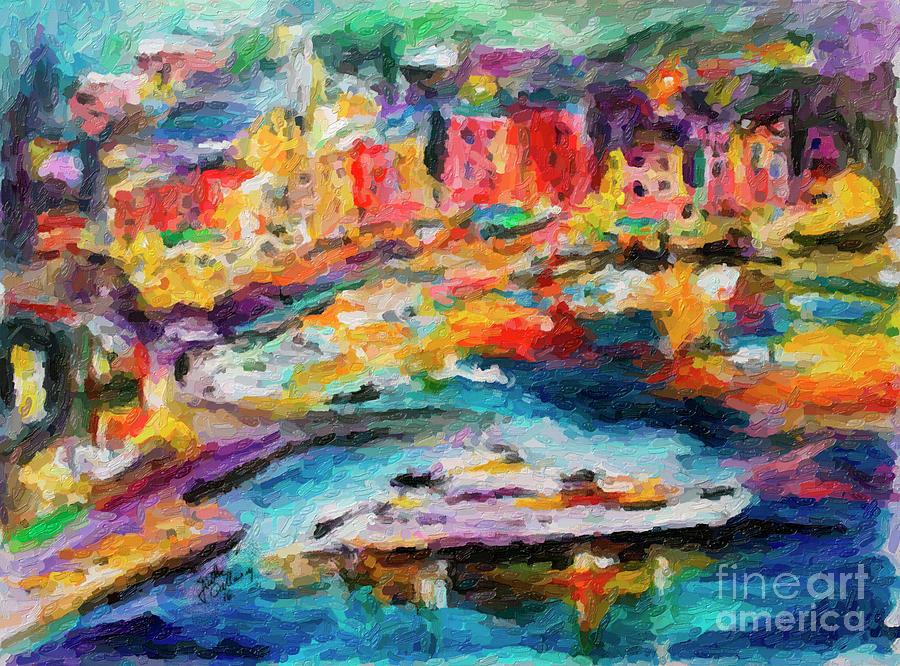 Portofino Italy Digital Impressionism by Ginette Callaway