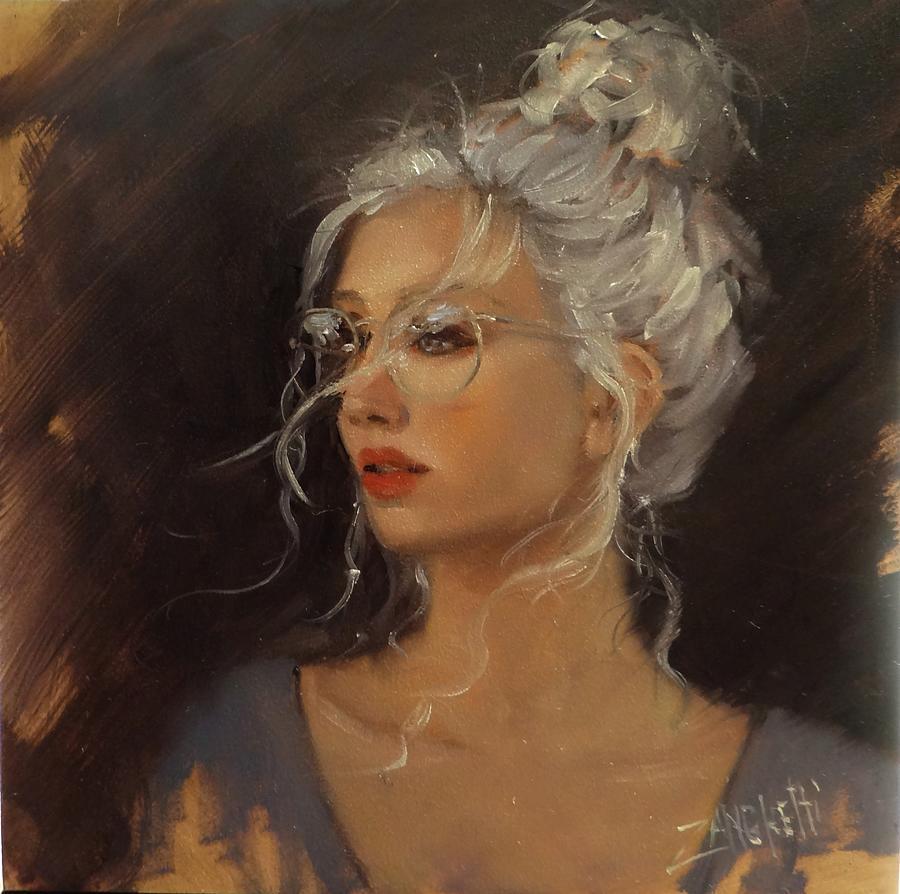 Woman Wearing Glasses Painting - Portrait Demo 7 by Laura Lee Zanghetti