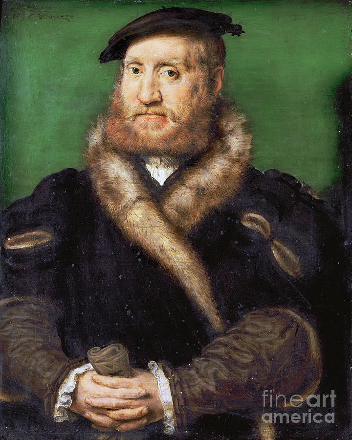 Portrait Of A Bearded Man With Fur Coat Drawing by Heritage Images